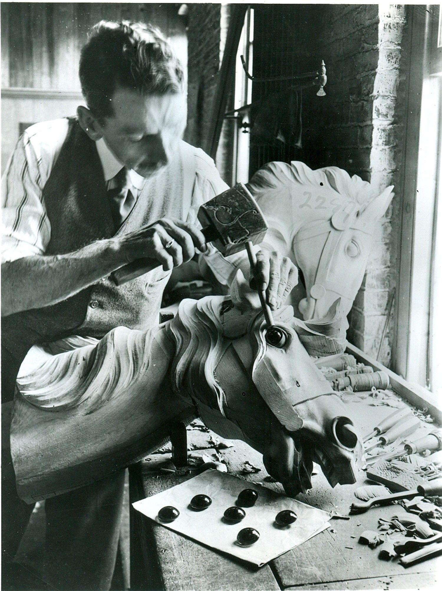 ca-1900-Dentzel-carousel-carving-shop-Daniel-Muller   Carousels ...