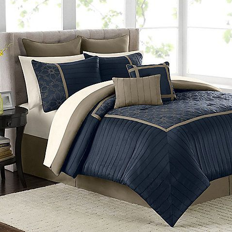 Navy Tan Comforter Mira 12 Piece Set In