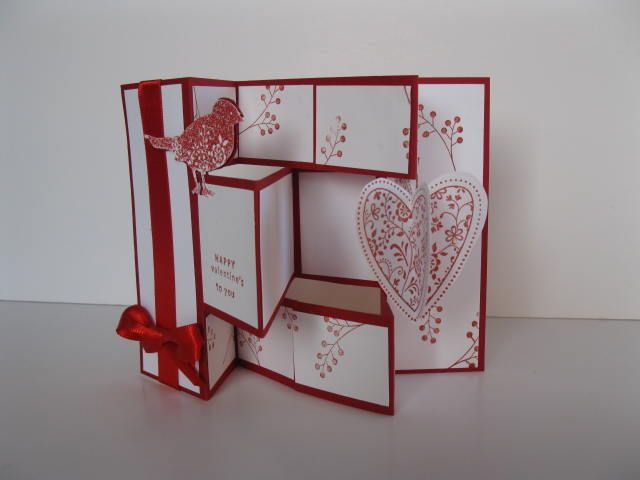 TriFold Shutter Card White With Red Ink Ribbon  Base Luv