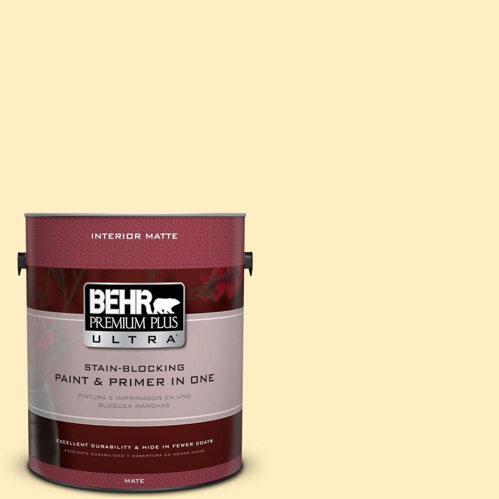 BEHR Premium Plus Ultra 1 gal. #380A-2 Moonlit Yellow Flat/Matte Interior Paint