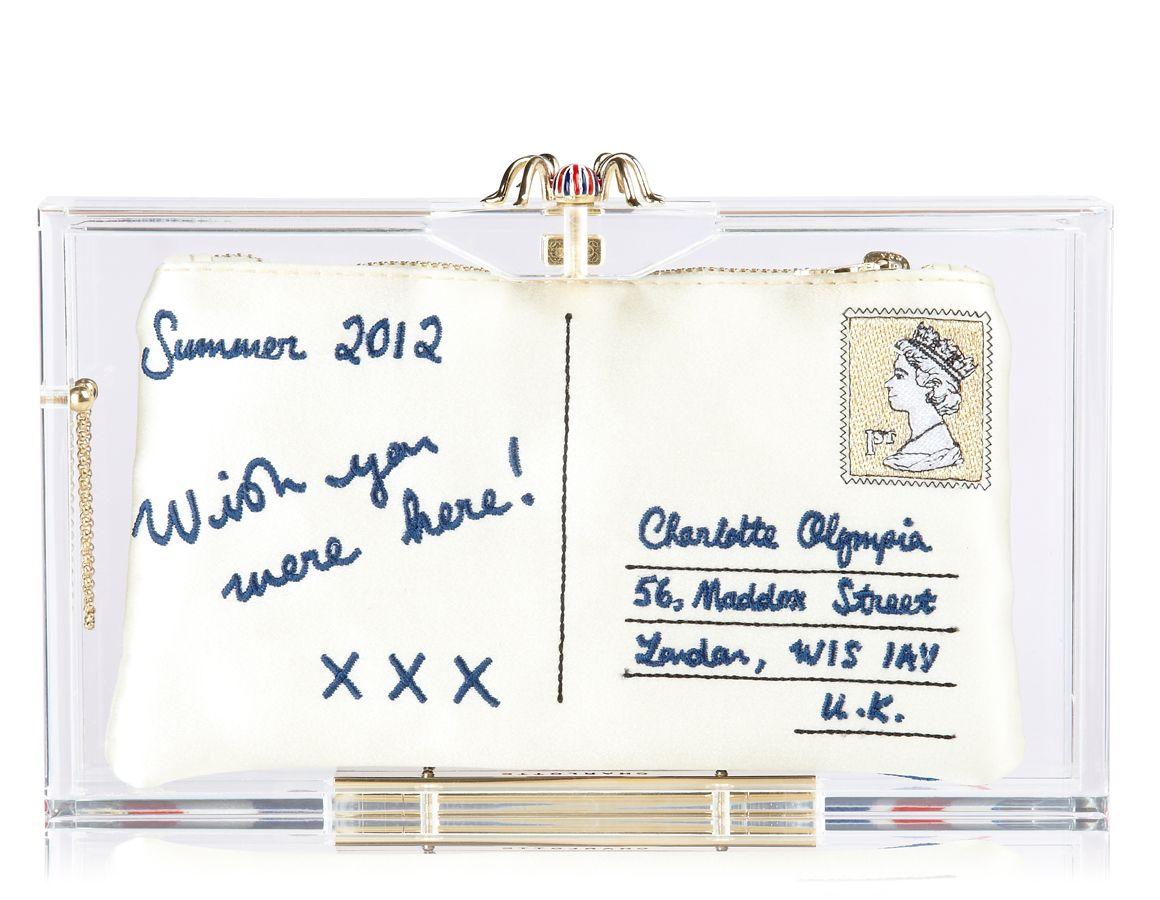 Charlotte Olympia Jubilee Pandora clutch with postcard insert