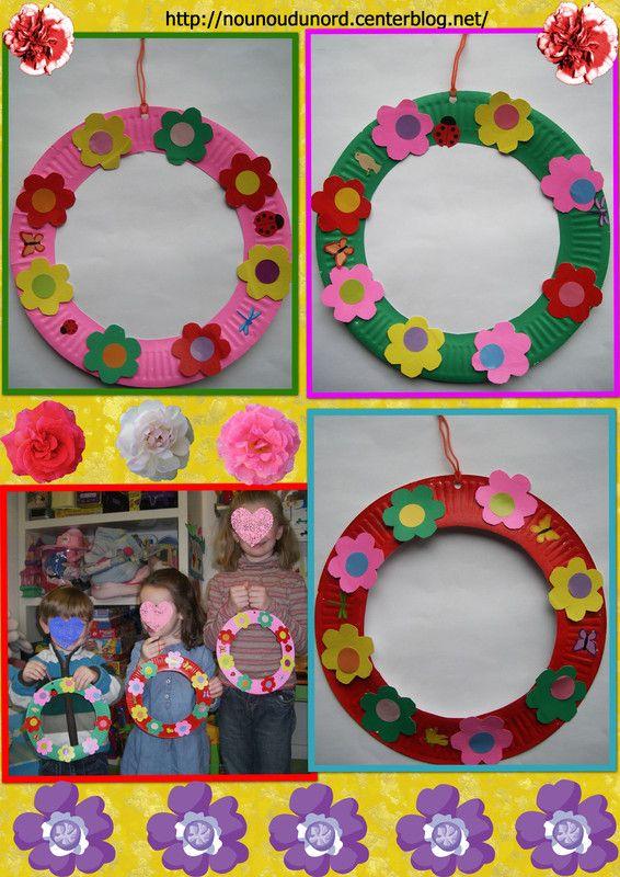 Couronnes de printemps des enfants explications sur mon blog printemps pinterest cd - Bricolage de printemps ...