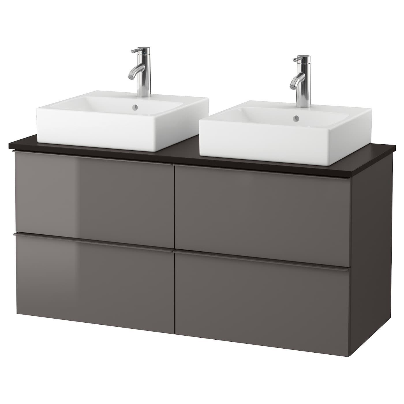 Godmorgon Tolken Tornviken Bathroom Vanity High Gloss Gray