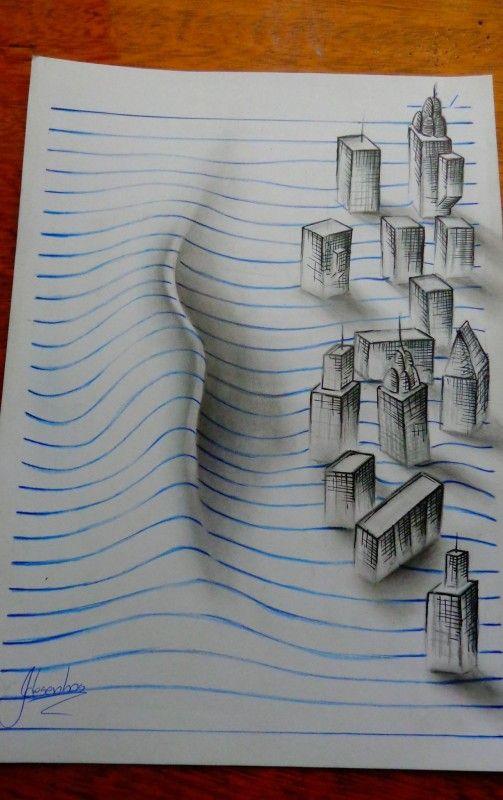 Des dessins lignés en relief | Op art, Sketches and Illustrations