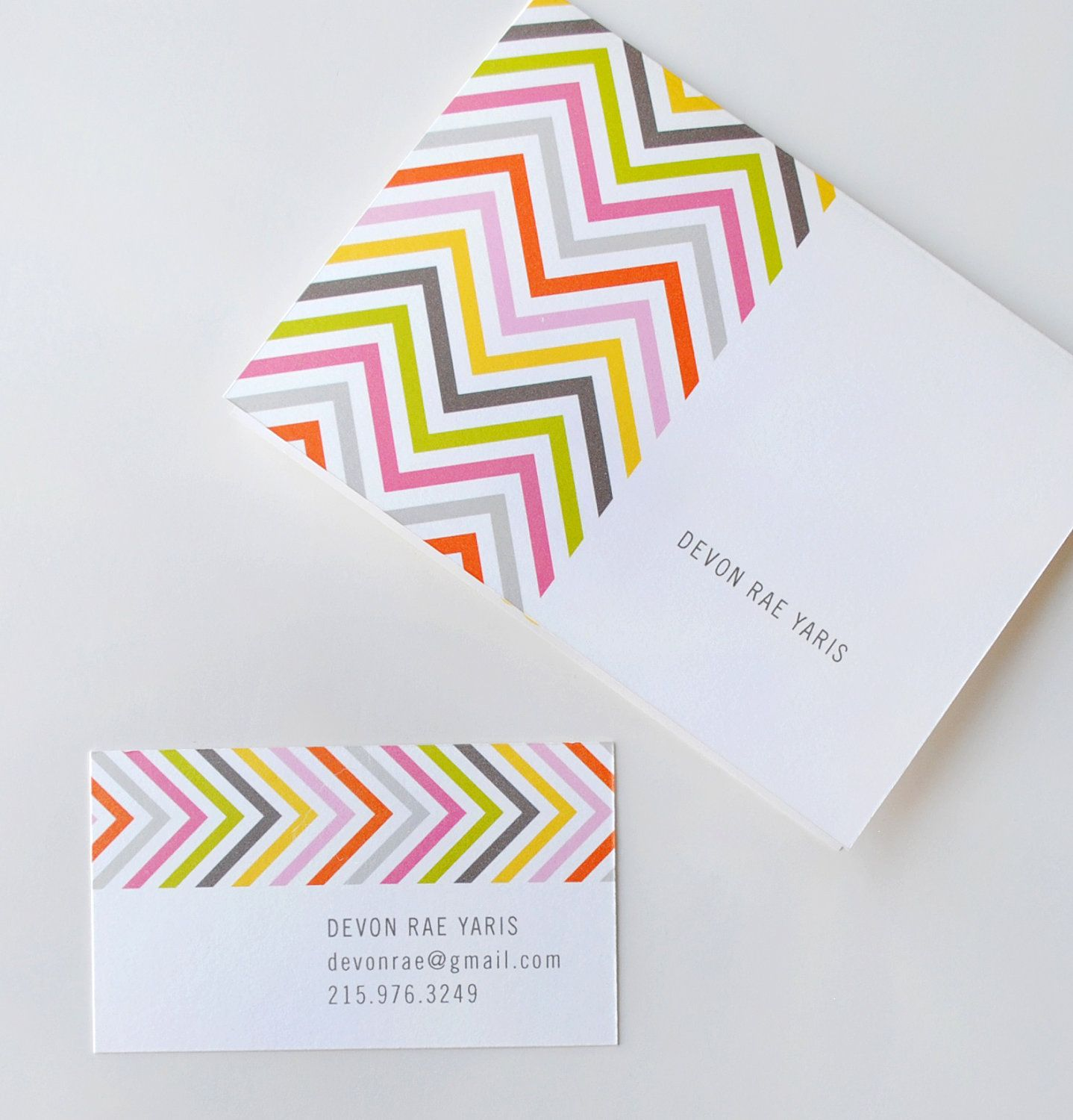 Chevron business cards, calling cards, personalized stationery ...