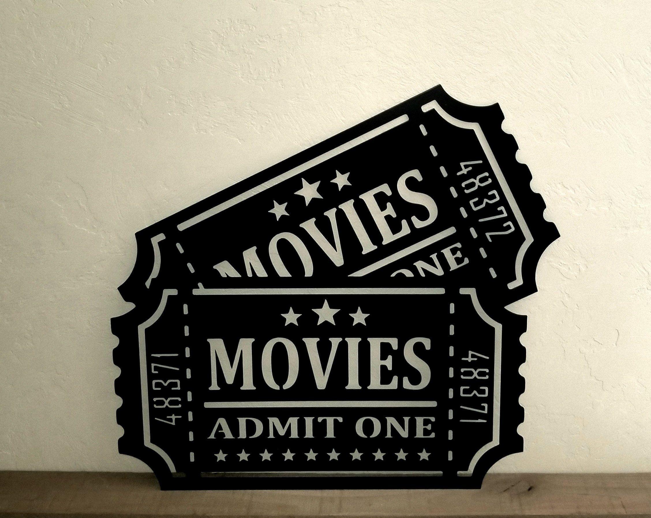 Metal Movie Tickets Sign Movie Theater Decor Admit One Etsy
