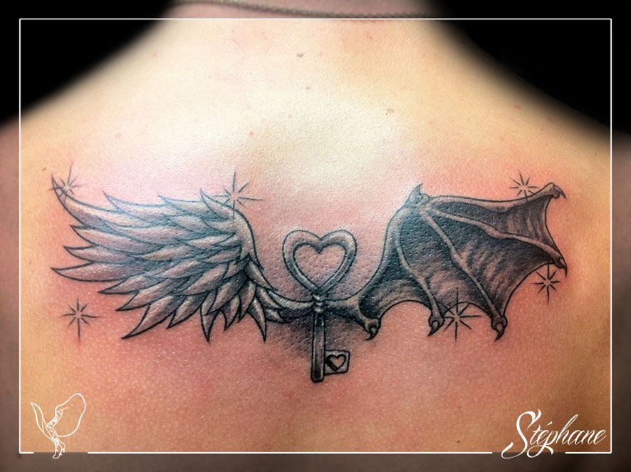 Tatouage modele mi ange mi demon femme recherche google tatoo with my cop 39 s pinterest mi - Tatouage femme ange ...