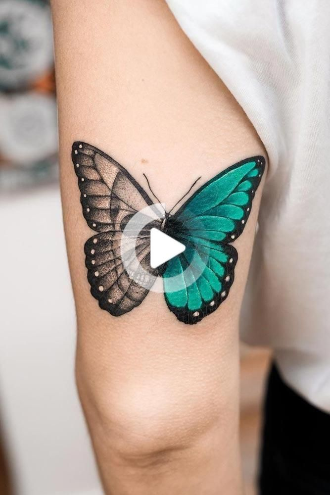 Photo of Half-Colored Butterfly Tattoo with Skull – Half-Colored Base Rec … –  Half-Colored Butterfly