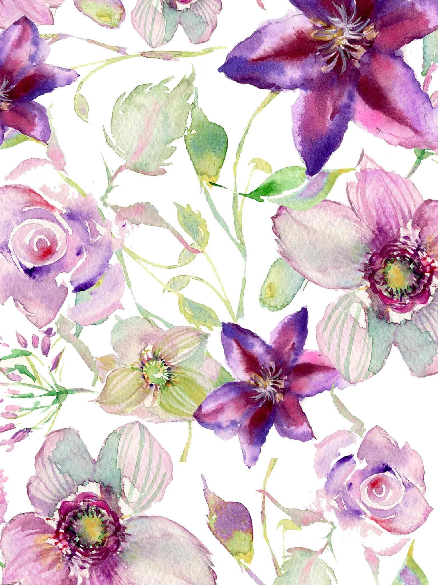 Violet Watercolor Flower Wallpaper Download Ipad Jpg 1536 2048