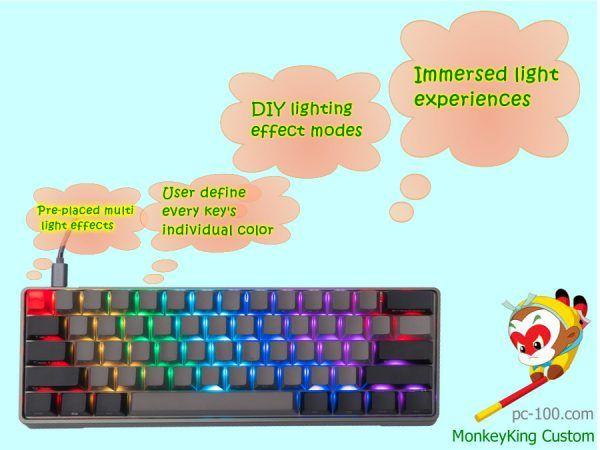 diy lighting effects. 60% Compact Mechanical Keyboard With Full RGB Backlight, DIY Lighting Effects Modes Diy C