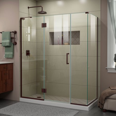 Dreamline Unidoor X 64 In W X 34 3 8 In D X 72 In H Frameless Hinged Shower Enclosure In Oil Rubbed Bronze Brown In 2020 Frameless Shower Enclosures Corner Shower Enclosures Frameless Shower Doors