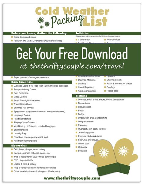 Cold Weather And Winter Vacation Packing List Free Printable Winter Vacation Packing Winter Vacation Packing List