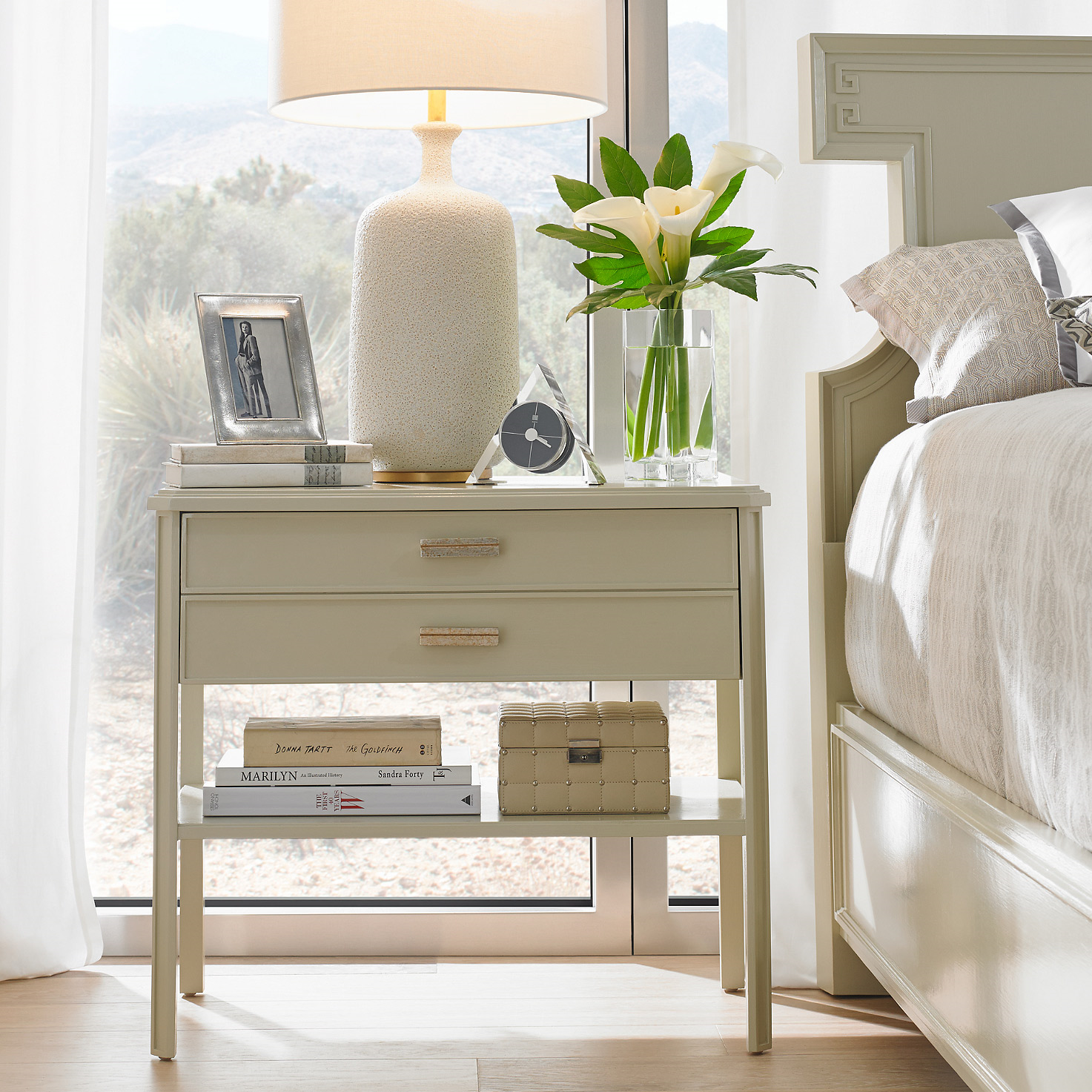 "20) Stanley Furniture Crestaire Southridge Capiz Bedside Table, 30""W, $890 + 20% off"