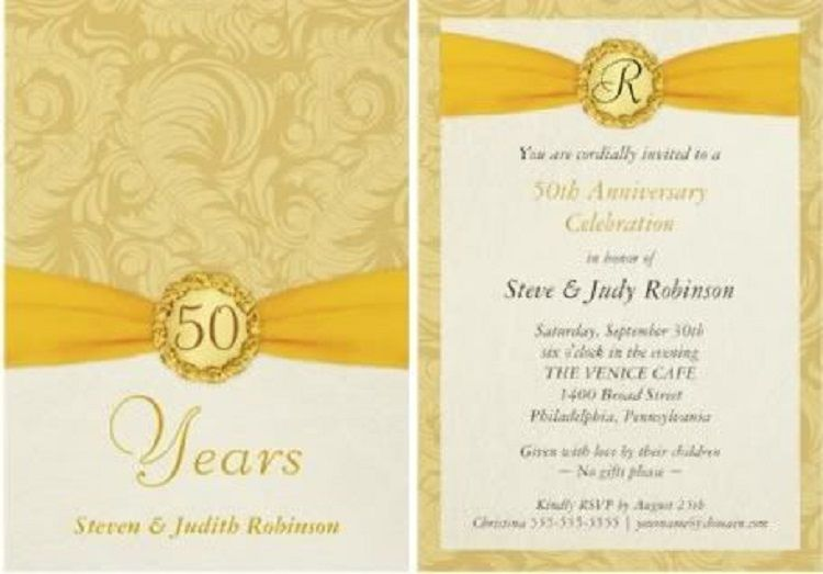 Golden Wedding Anniversary Invitations Invitation Ideas In 2019