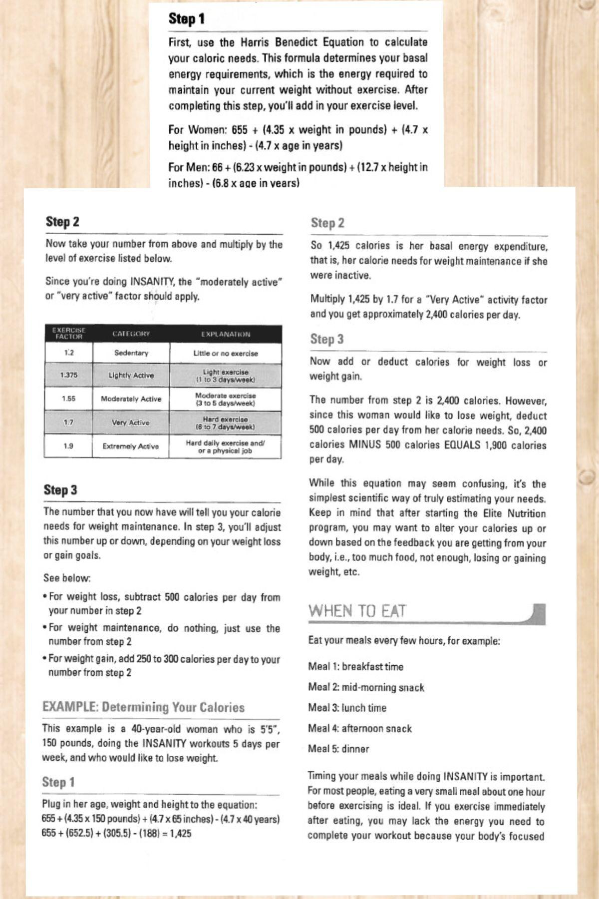harris benedict equation insanity nutrition guide health fitness rh pinterest com nutrition guide insanity francais insanity nutrition guide pdf free