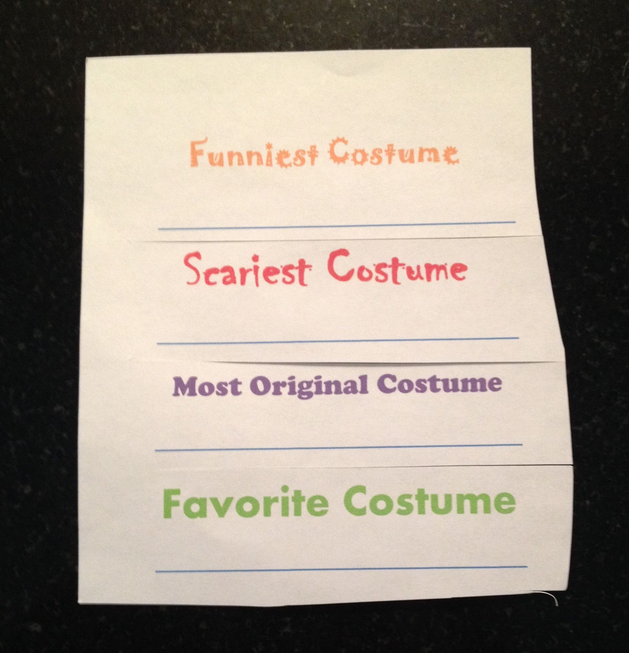 costume contest ballots - Halloween Party Rules