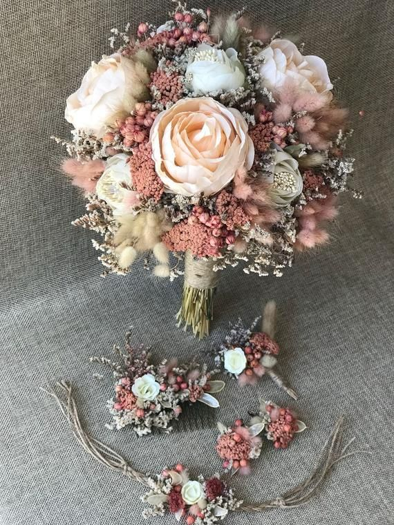 Wedding Bridal Day Natural Dried Flower - Bridal Bouquet, Flower Clasp, Flower Earring, Corsage and #flowerbouquetwedding