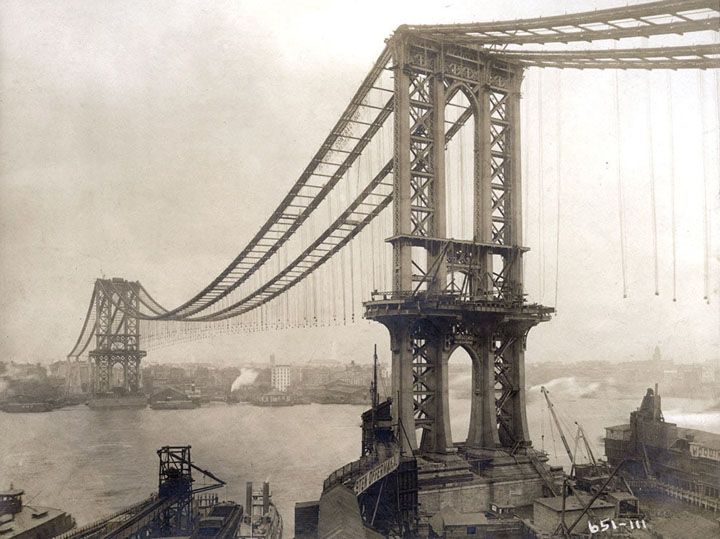 Manhattan Bridge, under-construction, seen from the roof of Robert Gair Building, showing suspenders and saddles, on February 11, 1909.