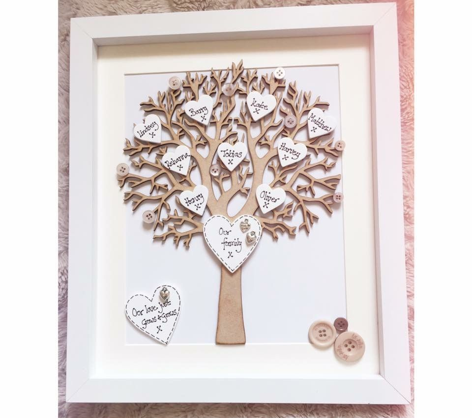 Wooden Family Tree Frames Personalised With Up To 8 Names Additional Names Pound 1 Each Why Not Add Your Family Tree Frame Picture Frame Crafts Framed Word Art