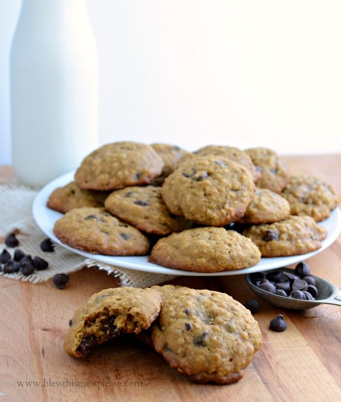 Oatmeal chocolate chip cookies with yellow cake mix