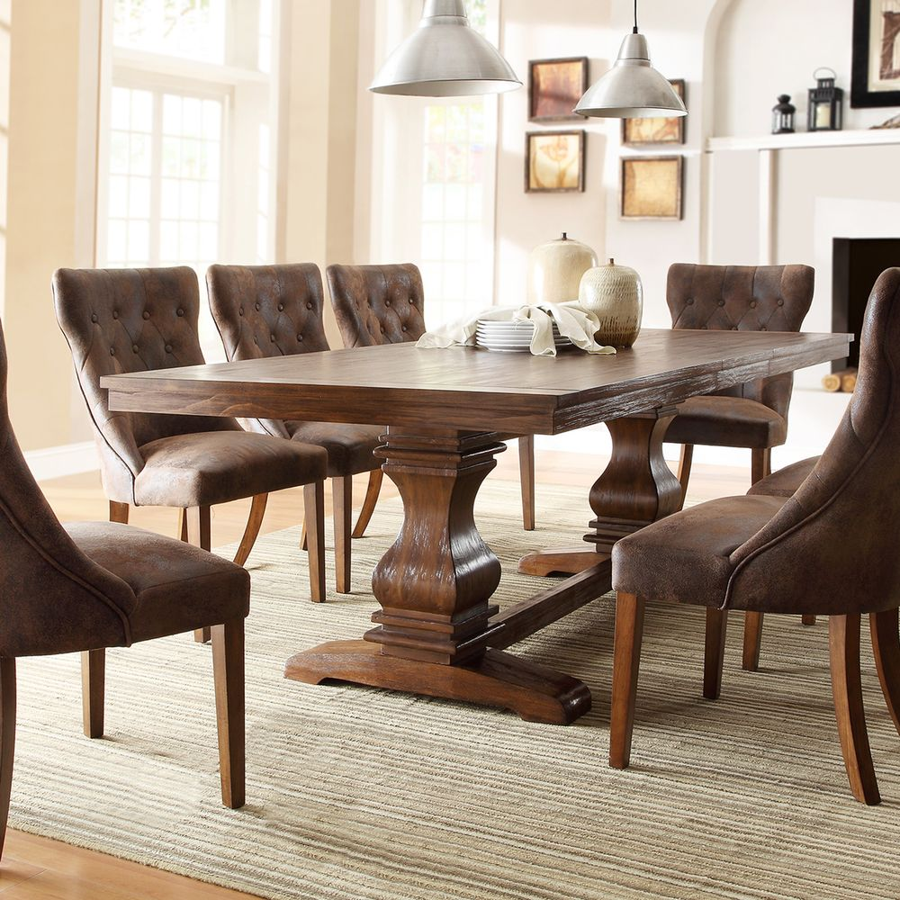 Atelier Burnished Brown Pedestal Extending Dining Table by iNSPIRE Q  Classic by iNSPIRE Q