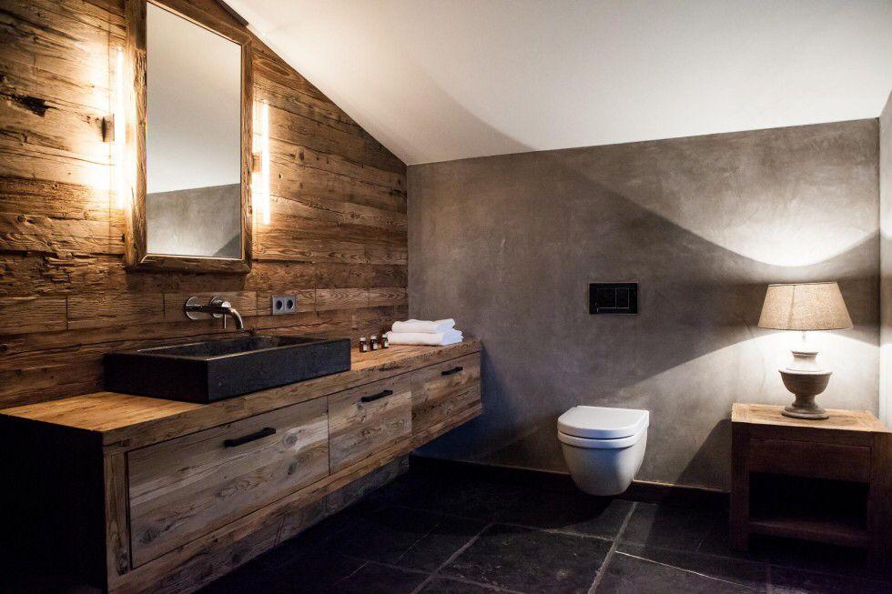 Altholz Wand Badezimmer Rustikal Rustikale Bader Chalet Mobel