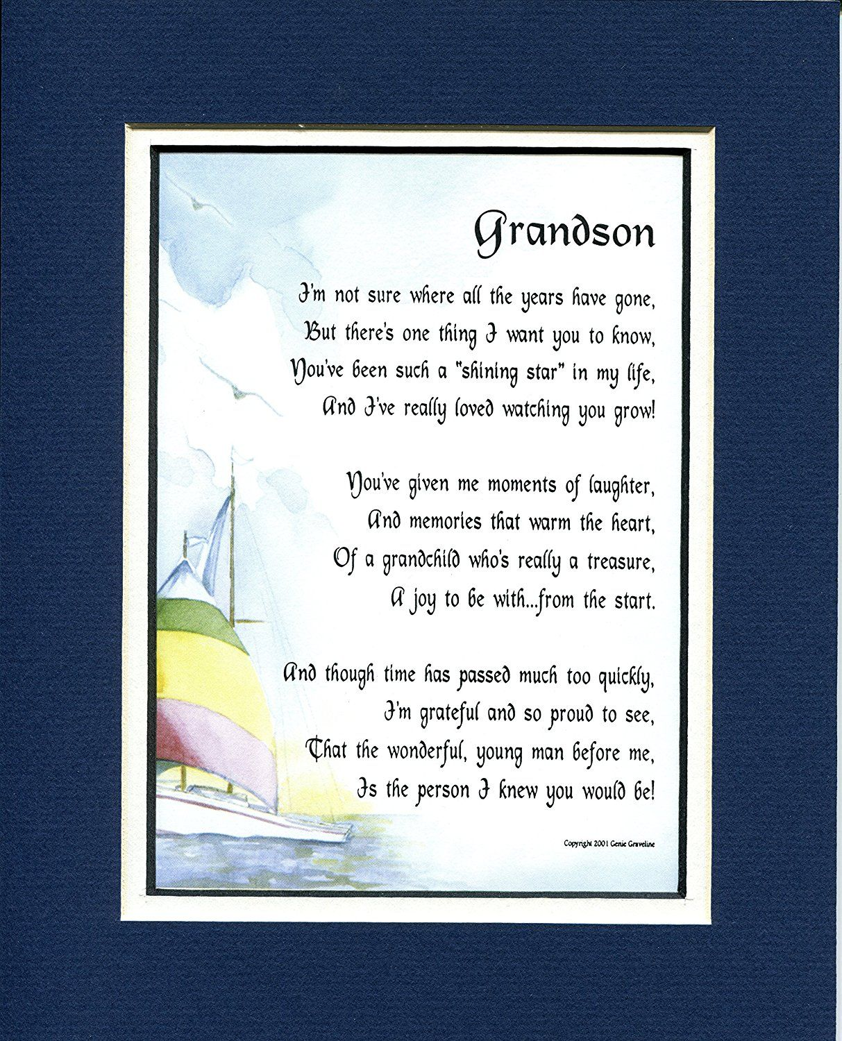 A Gift For A Grandson, #44, 8x10 Poem, Double-matted In Navy/White And Enhanced With Watercolor