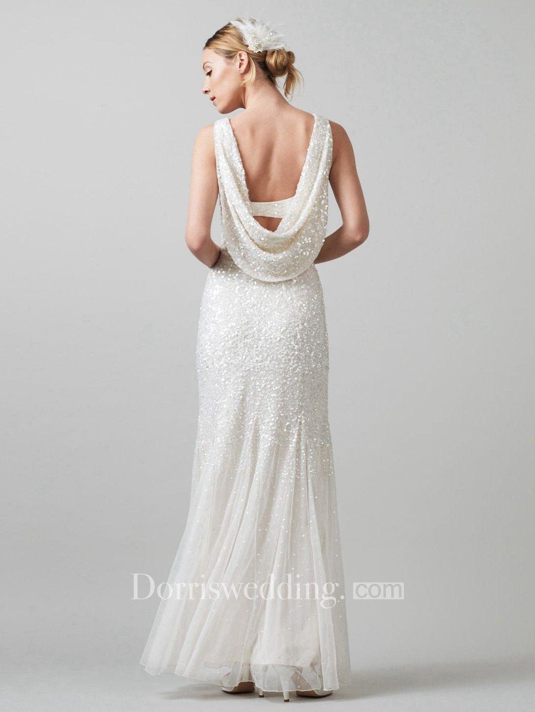 Sheath sleeveless vneck pleated floorlength sequins wedding dress