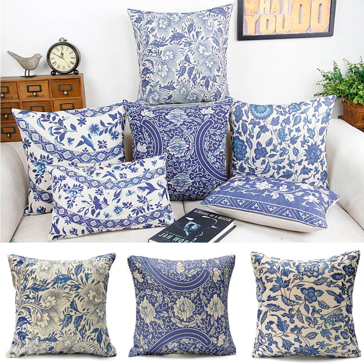 Best Vintage Oriental Cushion Cover Blue Floral Cotton Linen 400 x 300