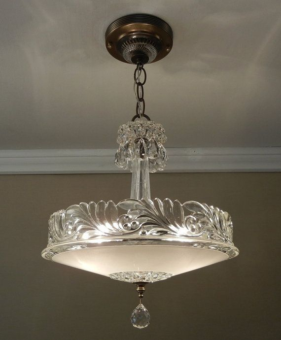 Antique chandelier 1930 vintage deco nouveau fleur de lis for Antique pendant light fixtures