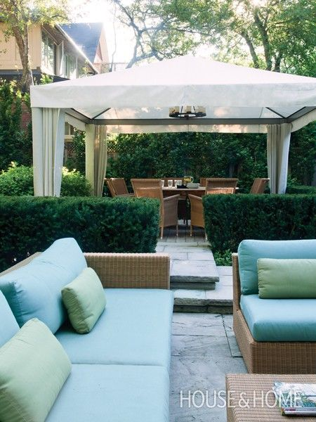 Defined Outdoor Lounge  Create rooms with manicured hedges.  Low slung furniture in the lounging area and a tailored dining canopy help define separate spaces. Various levels of stone pavers add interest.