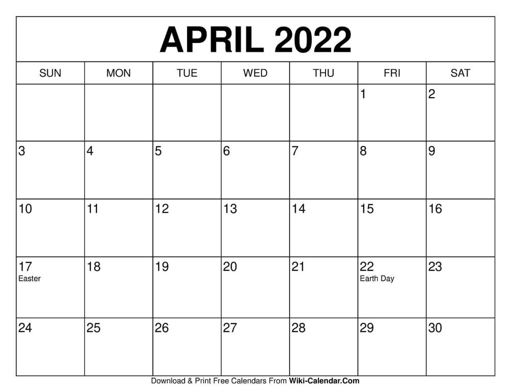 April 2022 Calendar Printable.April 2022 Calendar Free Calendars To Print Print Calendar 2020 Calendar Template