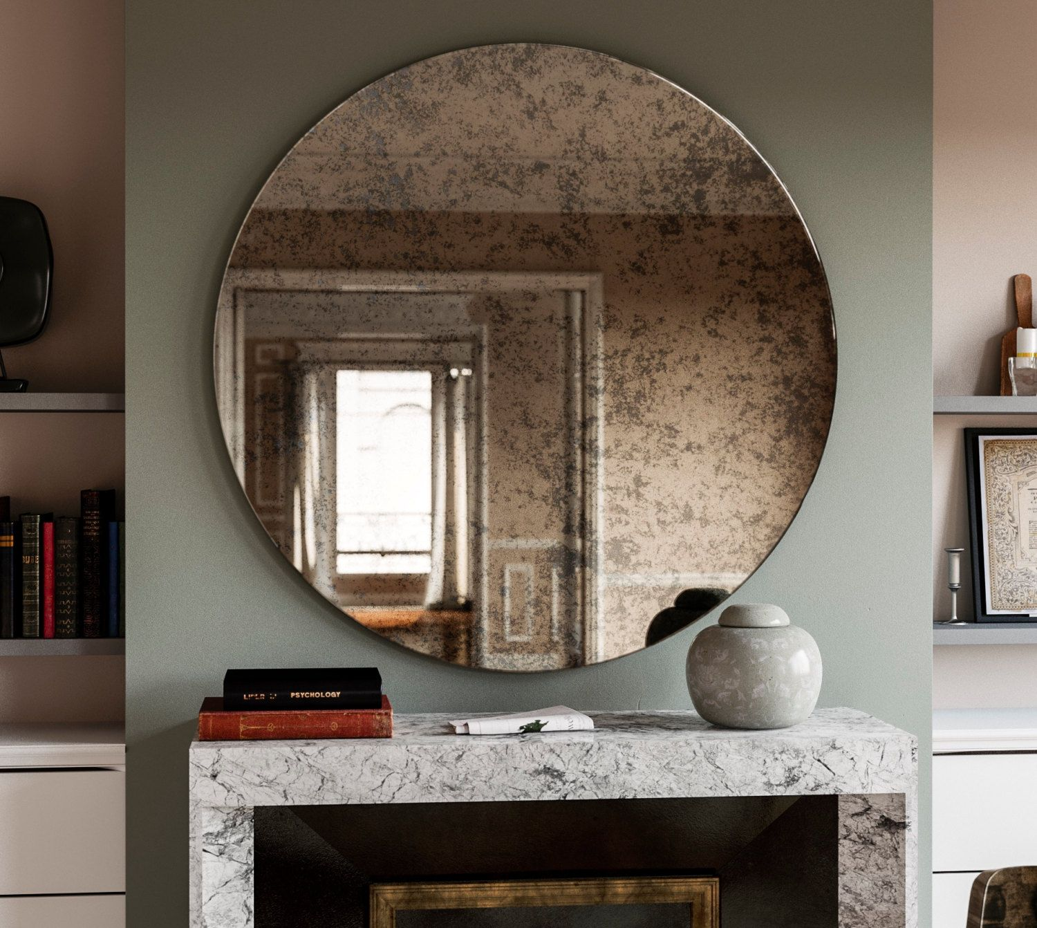 Antiqued Mirror With Dark Surface Interesting Hand Antiqued