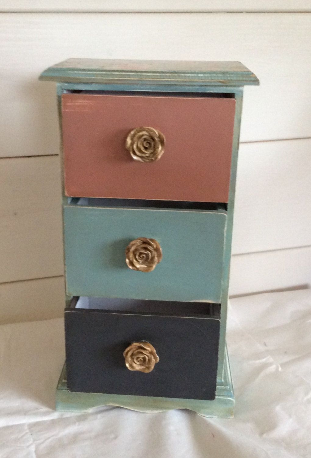One Of A Kind Hand Painted 3 Drawer Storage Cabinet By Dottycottage1 On Etsy
