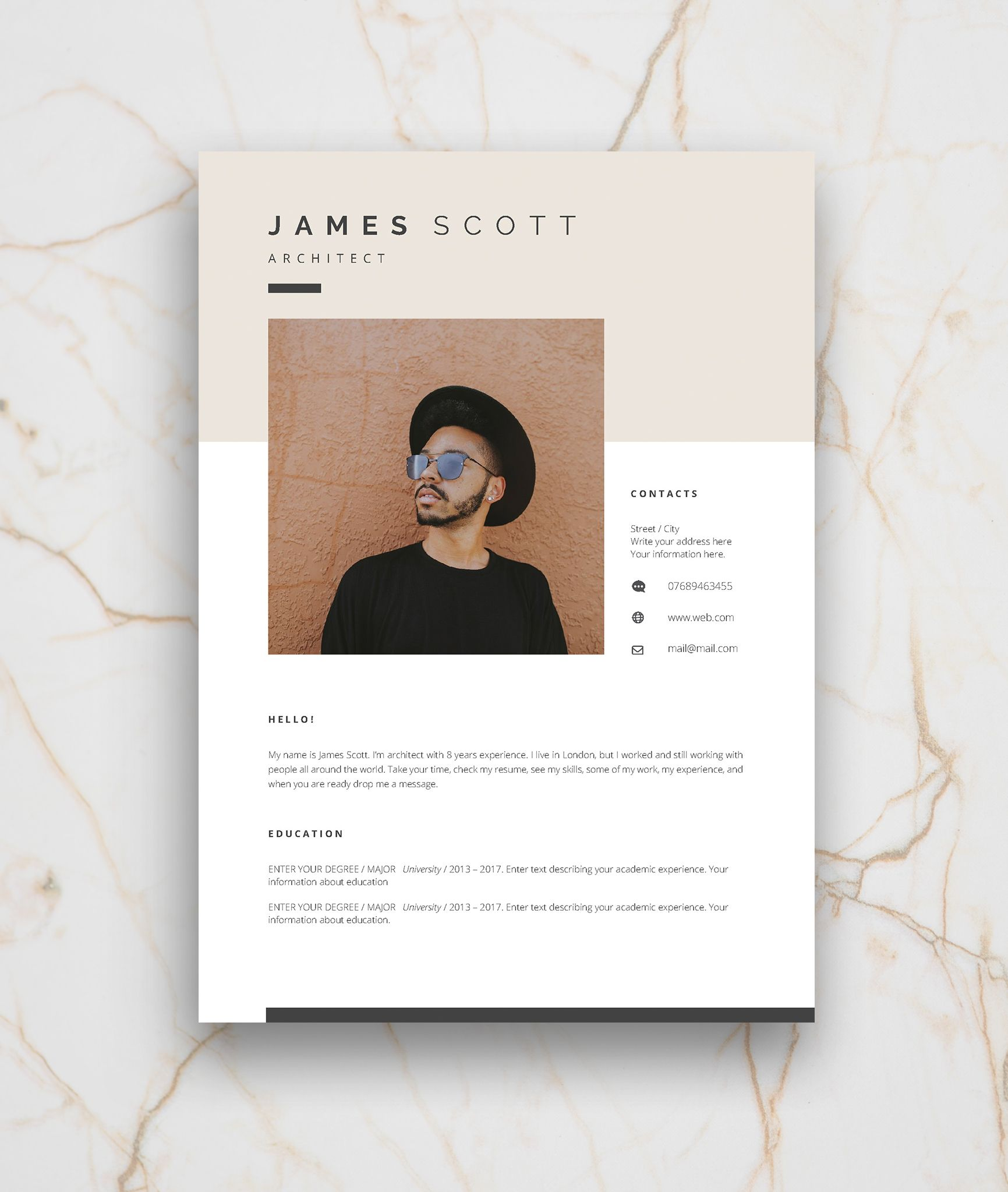 Resume Template 5 Page Cv Template Cover Letter Instant Etsy Resume Template Cover Letter Design Cv Template