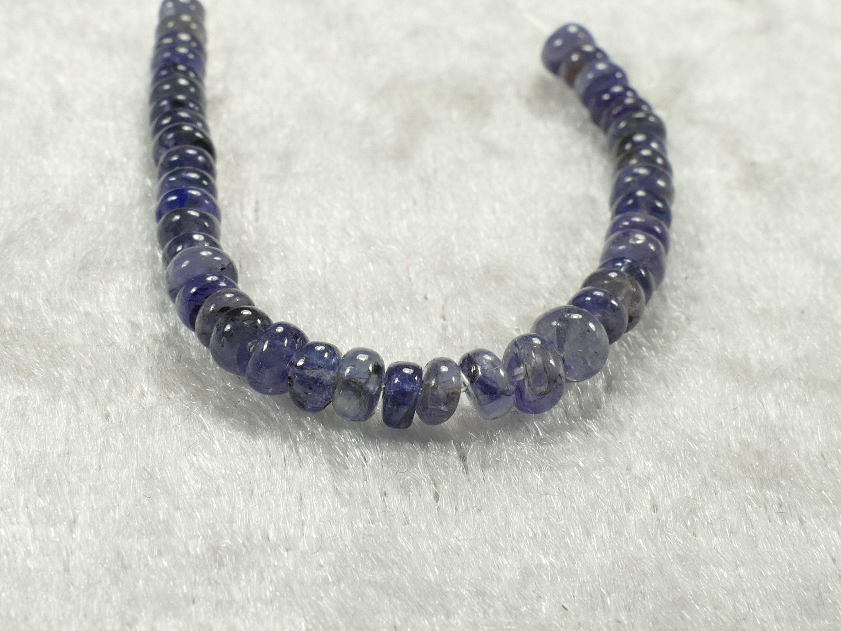 Perles de Saphir bleu foncé naturel en rondelle lisse de Thaïlande lot pour bracelet collier