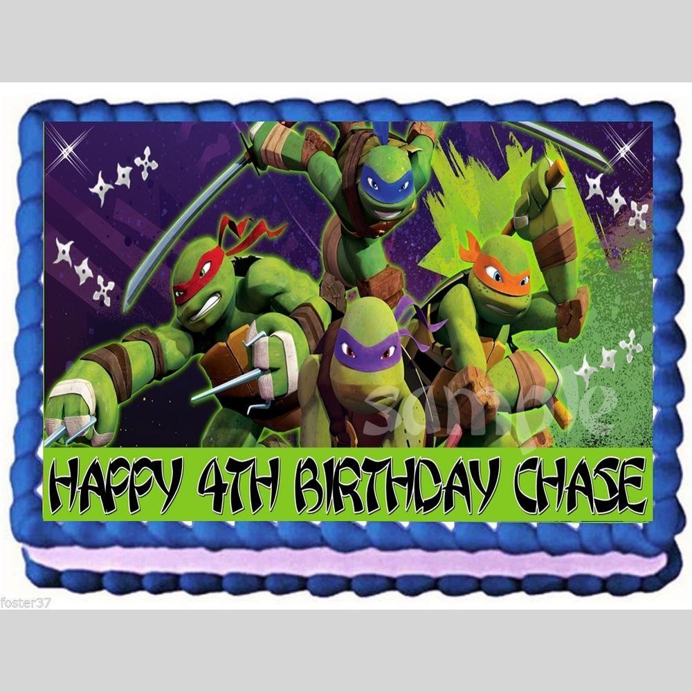 Teenage Mutant Ninja Turtles Personalized Edible Cake Toppers Quarter Sheet