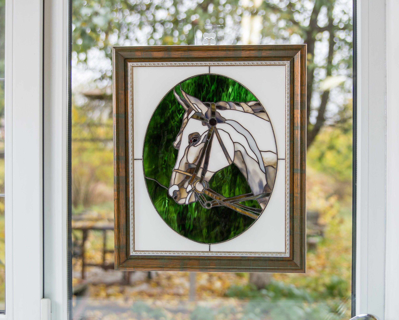 Arabian horse artwork / Modern stained glass panel Gift
