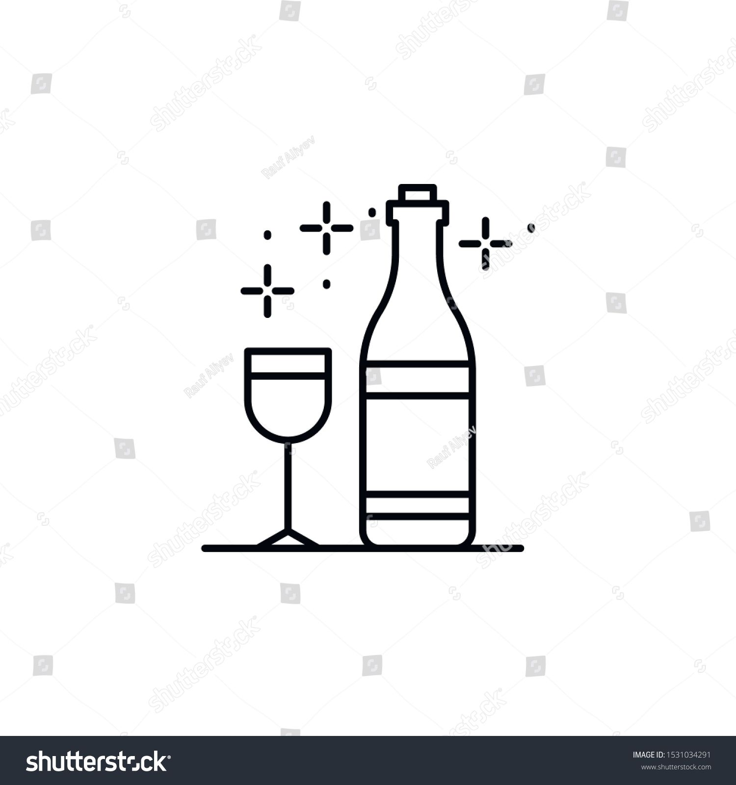 Glass if wine icon Element of Food and Drink icon Thin line icon