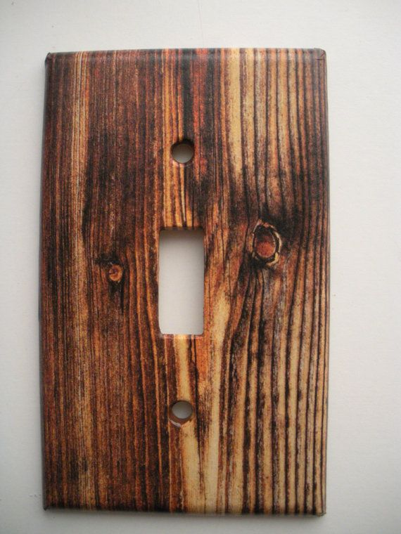 Rustic Wood Grain image light switch outlet cover by CreepyHallow ...