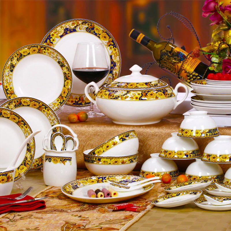 Fashion Ceramics Quality 58 Bone China Dinnerware Set Photoret Gold 547 84