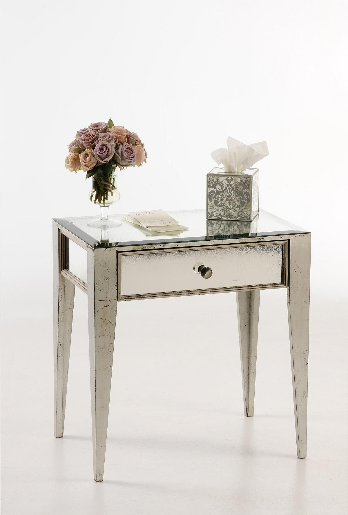 Mirrors Behind Bedside Tables: Mirror Drawers, Beveled Mirror, Table