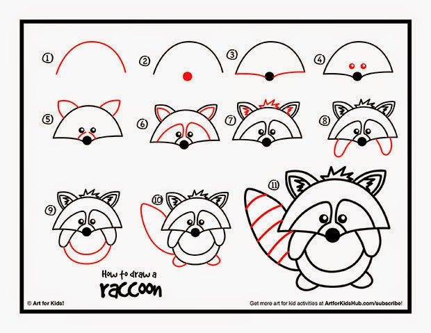 How to draw a raccoon- guided drawing | Guided Drawing ... Raccoon Drawing Easy