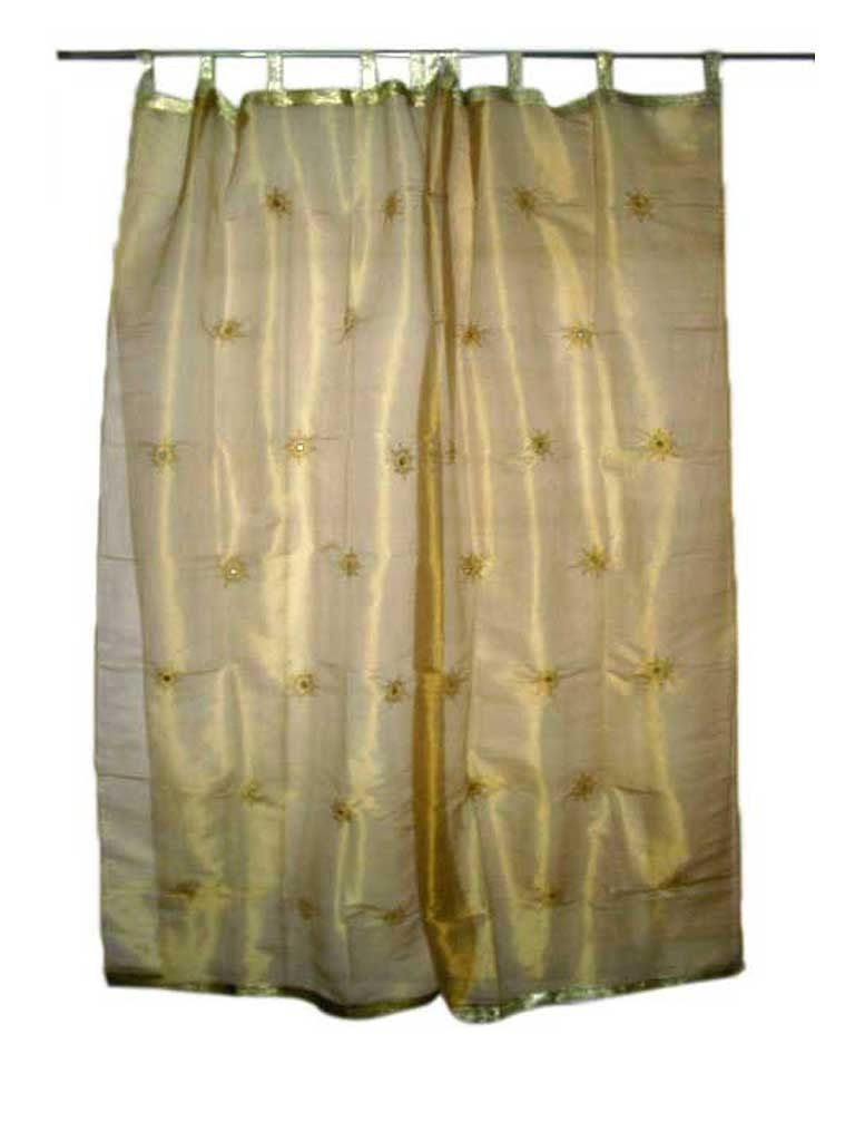 Indian curtains drapes - Amazon Com 2 India Curtains Organza Golden Floral Mirror Embroidered Curtains Sheer