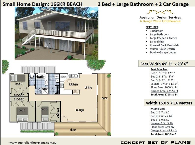 1000 sq foot 92 9 m2 Two or Three Bedroom Stump House Designs Daylight Basement