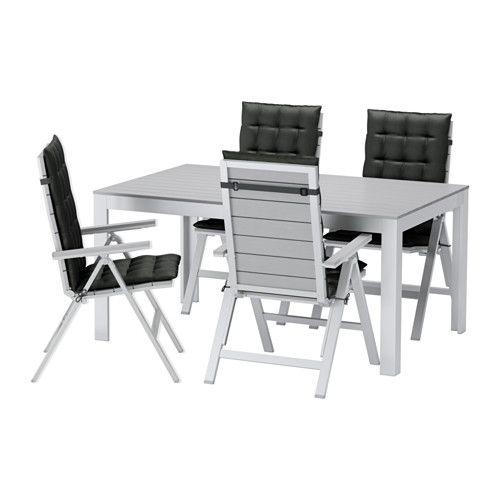 falster tisch+4 hochlehner/außen, grau, hållö schwarz | terrasse, Gartenmöbel