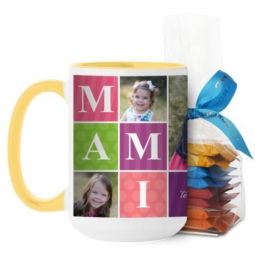 Mami Mug, Yellow, with Ghirardelli Minis, 15 oz, Purple