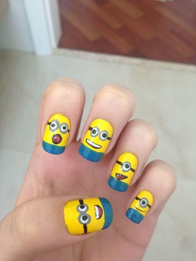 minion nail art....but it would turn out so bad if i tried to do this