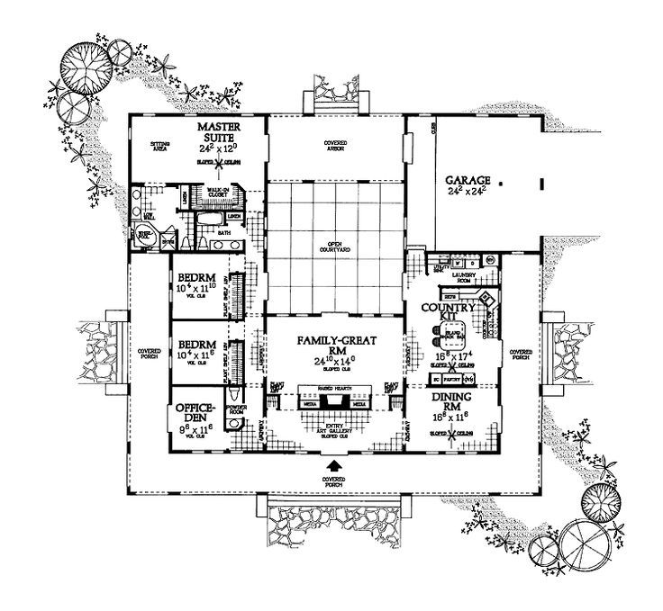 U Shaped House Plan with Courtyard … | Courtyard house plans ... on