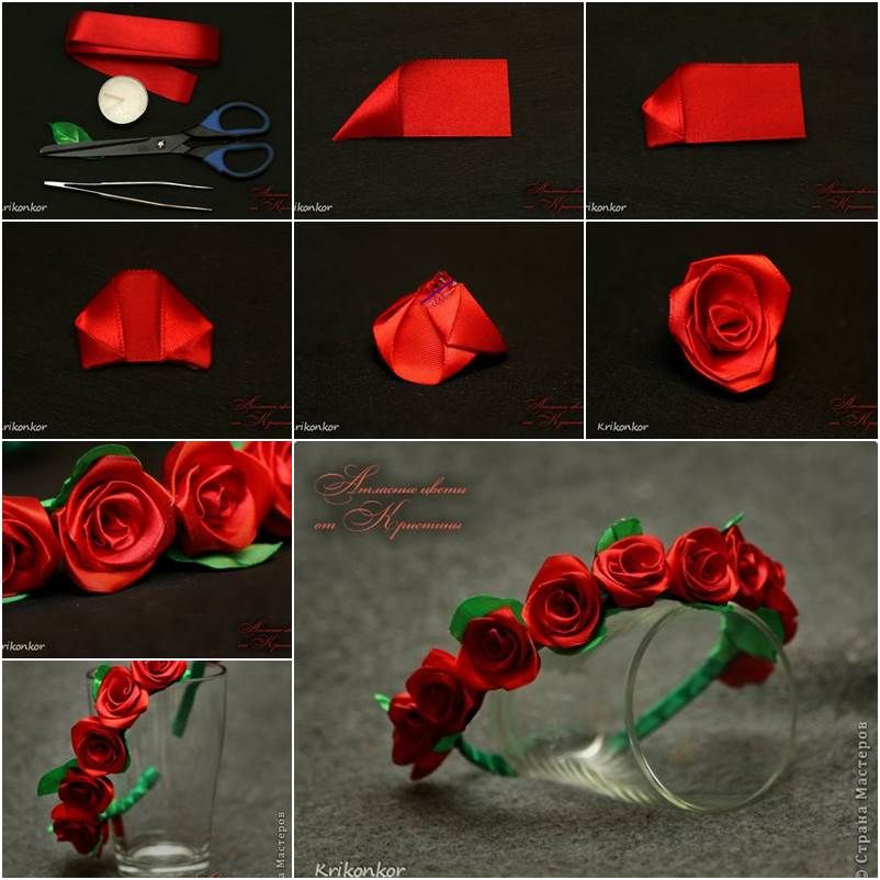 How to diy pretty satin ribbon flower hairband satin and for Ribbon crafts to make